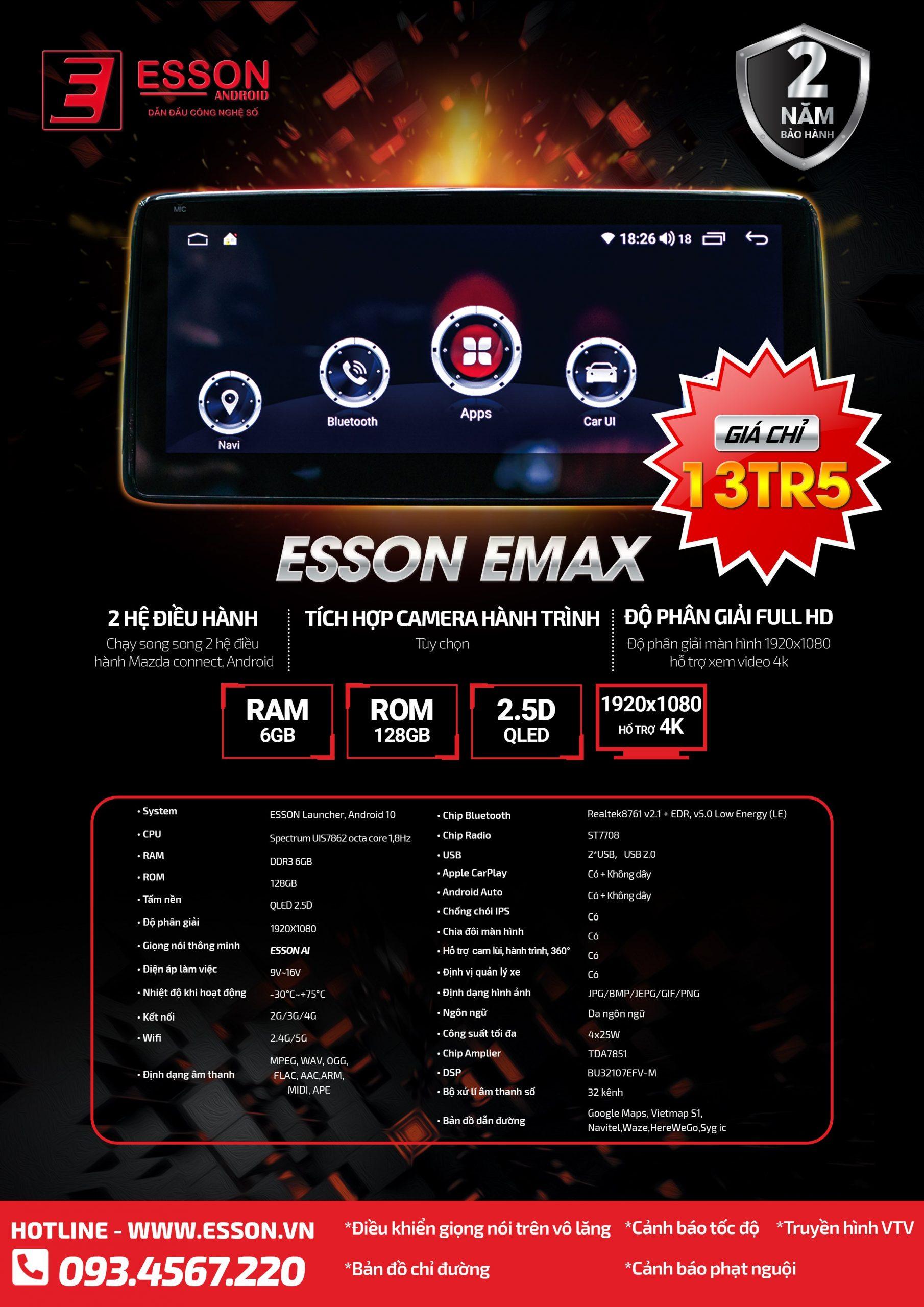 Màn hình android ô tô ESSON E MAX MAZDA